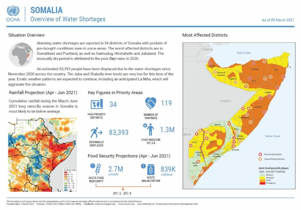 索马里季节性降雨不足 威胁民众生计