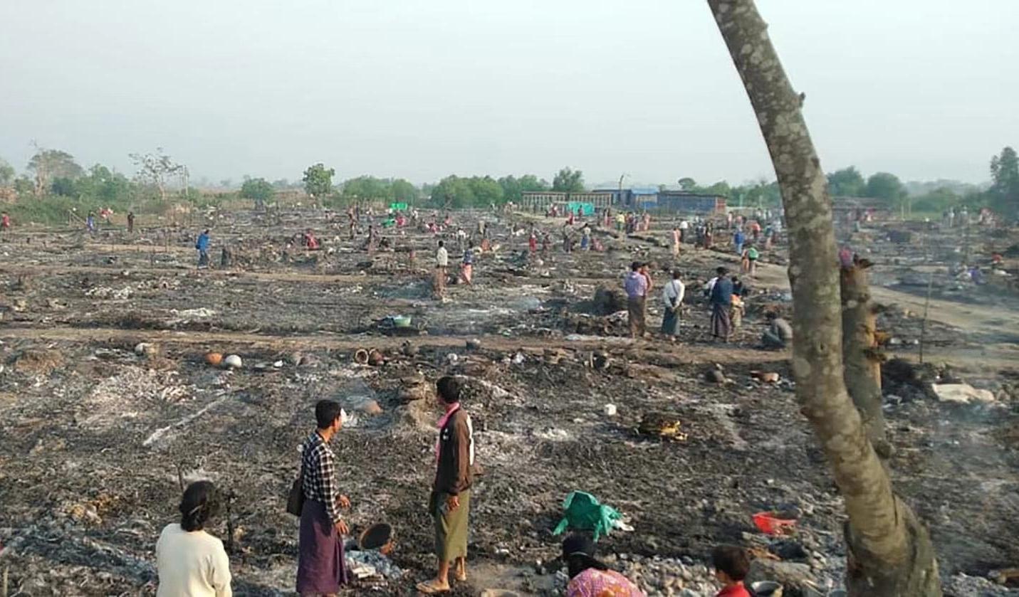 缅甸若开邦妙乌镇难民营发生火灾