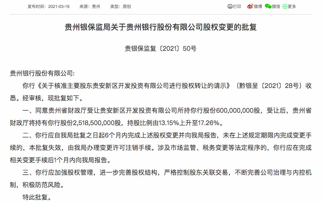 贵州财政厅受让贵州银行第三大股东6亿股 持股增至逾17%