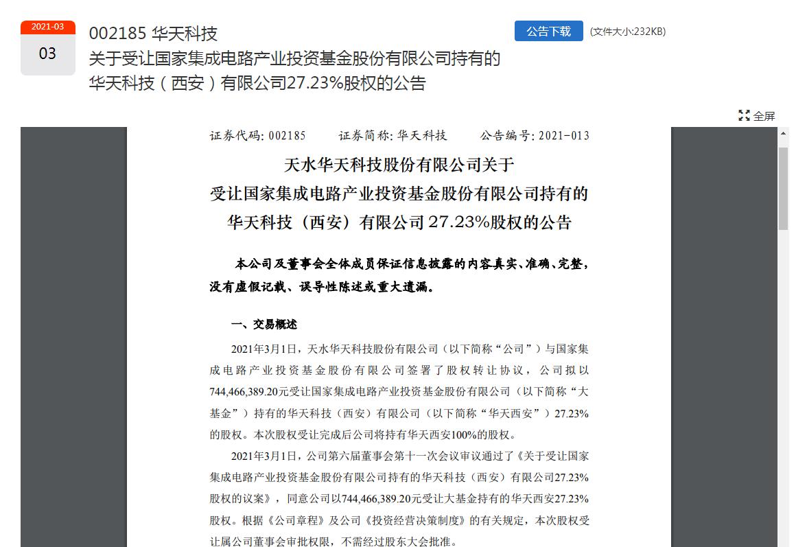 华天科技拟受让大基金所持华天西安27.23%股权