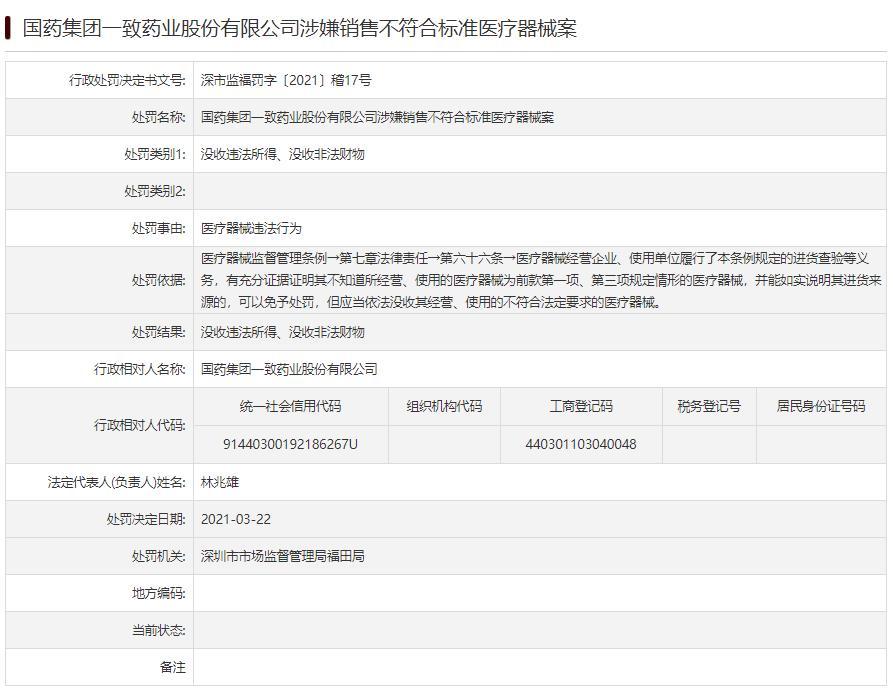 国药一致违法遭深圳处罚 涉嫌卖不符合标准医疗器械