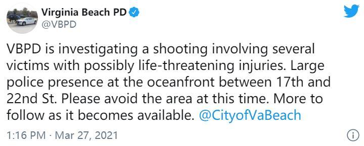 美国弗吉尼亚比奇市发生枪击案 警方称至少8人受伤