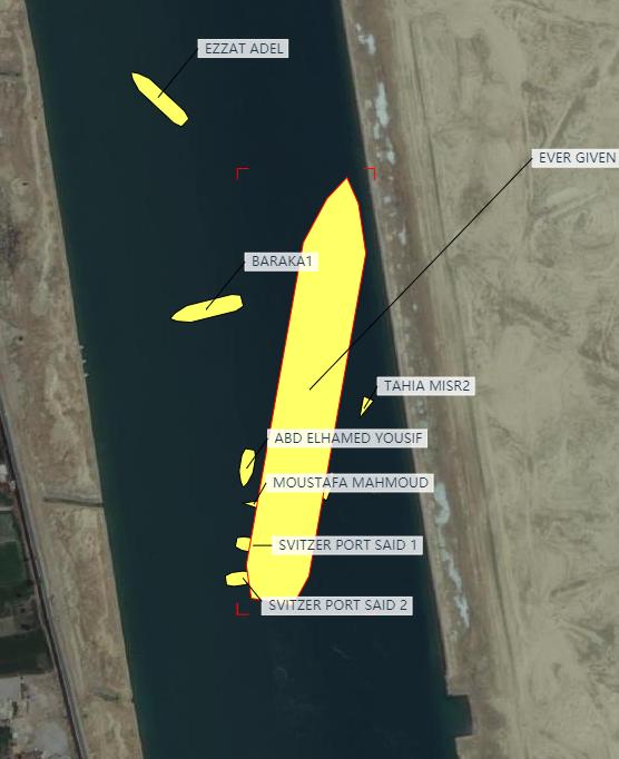 """货轮""""长赐号""""位置有所摆正,船尾已离开河岸"""