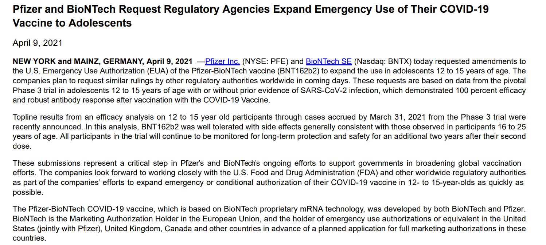 辉瑞/BioNTech向美国FDA申请扩大疫苗接种年龄至12周岁
