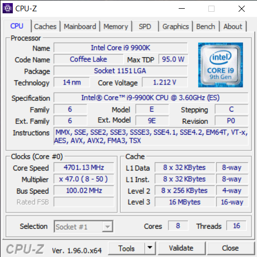 CPU-Z 1.96更新:支持12代Alder Lake和锐龙5000G台式APU处理器