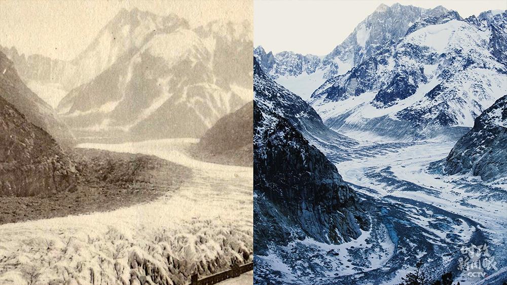△客岁2月,马克龙总统到访位于法国阿尔卑斯山勃朗峰山区的冰海冰川。作为法国最长的冰川,近些年它因环球暖化而急剧萎缩。这是马克龙总统在小我私家交际媒体上公布的冰川溶解比拟照片(左为1910年,右为2020年)。