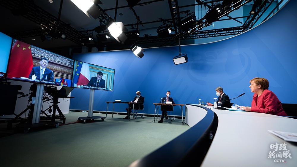 △这是默克尔总理地点的视频峰会会场。