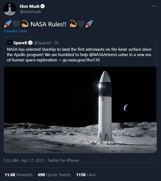 马斯克击败两大强敌 Space X独揽NASA登月189亿元登月大单