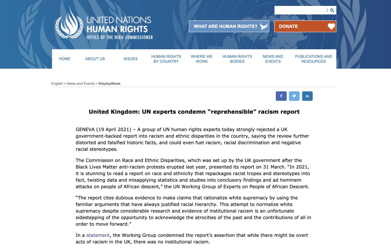 """联合国人权专家:英国种族主义报告""""应受谴责"""""""