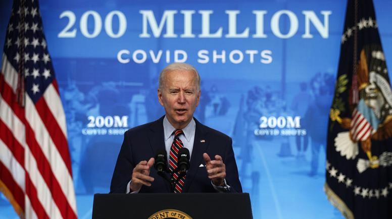 △美总统拜登在新闻宣布会上发布接种2亿剂新冠疫苗的义务已经完成