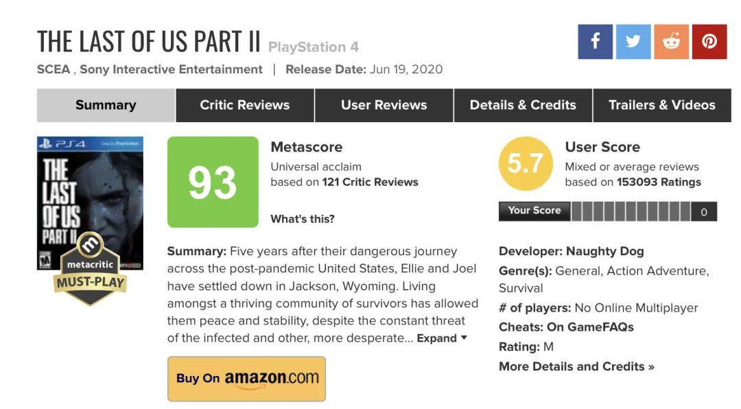▲15 万玩家在评分网站上给《着末生还者:第二部》打出了 5.7 的低分。<BR>   与媒体 93 分的匀称分相去甚远|metacritic