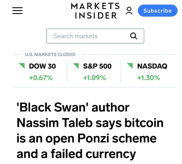 """无法对冲通胀!《黑天鹅》作者:比特币是一个公开的""""庞氏骗局"""""""