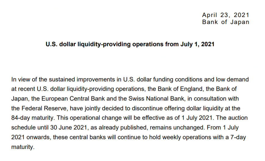 """不再美元荒!四大央行联合声明:将停止""""84天期""""货币互换操作"""