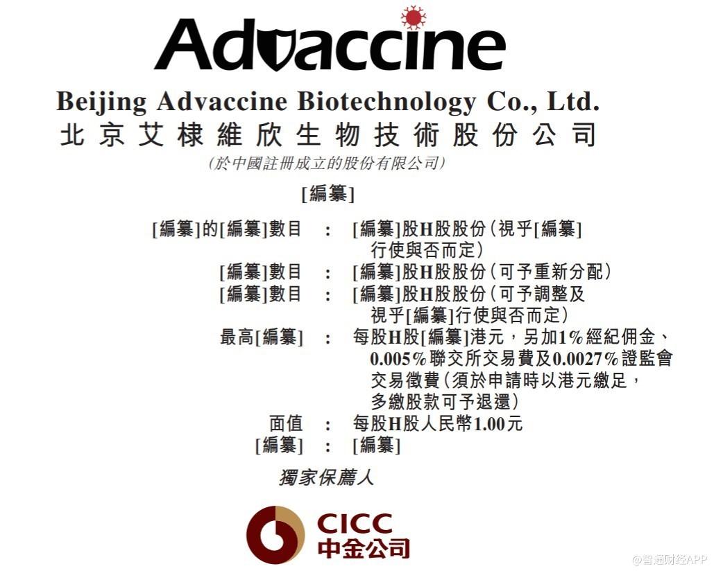 艾棣维欣递表港交所主板 核心产品为基于DNA新冠候选疫苗