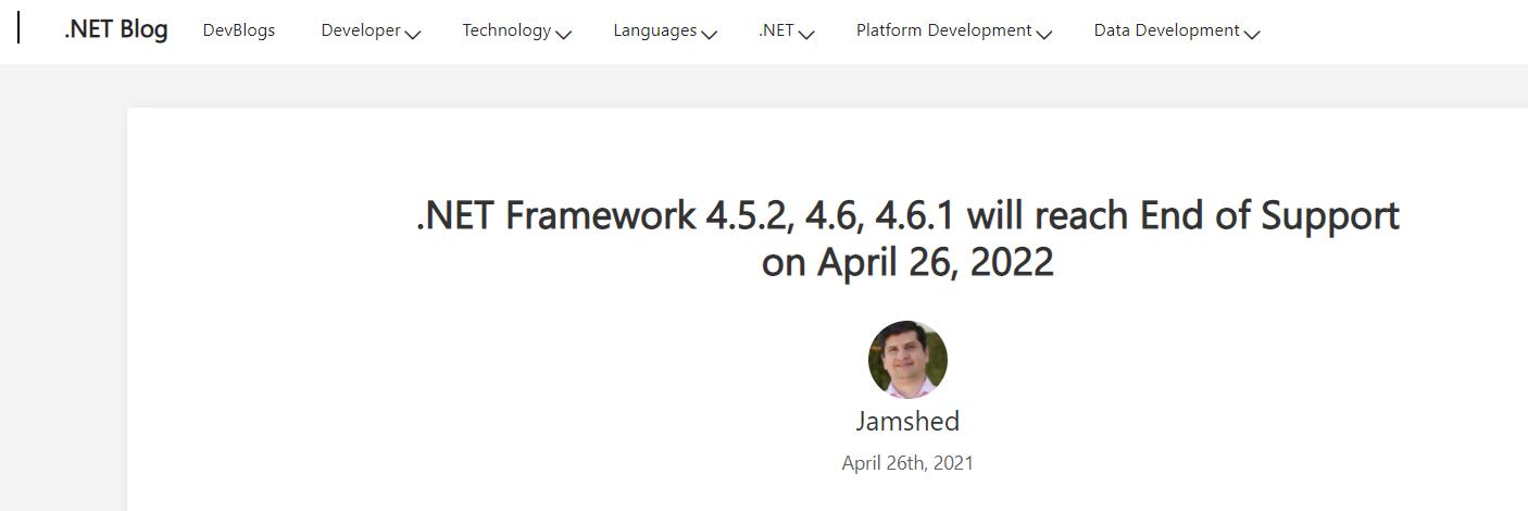 微软宣布将停止支持多个版本的 .NET Framework