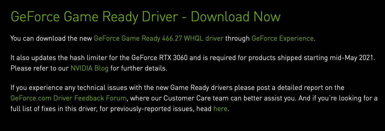 英伟达发布GeForce 466.27驱动,更新RTX 3060挖矿限制