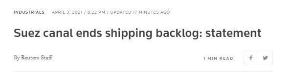 埃及苏伊士运河管理局:所有滞留船只已全部通过运河