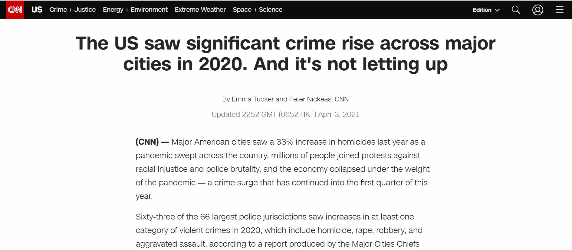 杀人案猛增三成 美国主要城市去年有点乱