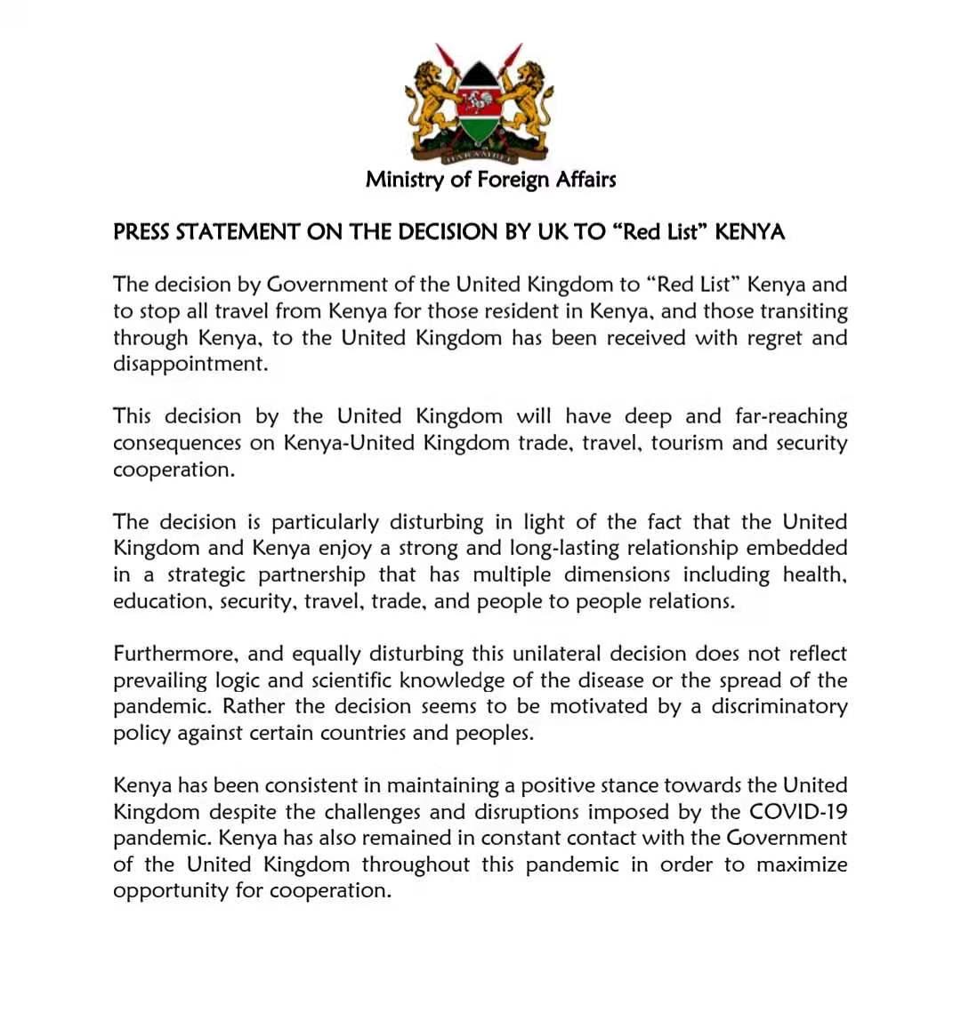 """肯尼亚谴责英国将其列入禁止入境旅行""""红色名单"""""""