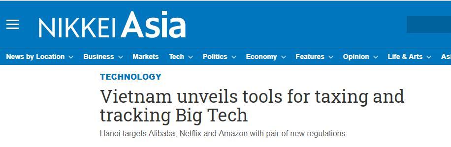 日媒:越南将出台新规,瞄准谷歌和阿里巴巴等公司