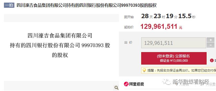 四川银行9997万股权遭拍卖 股东陷亿元借款合同纠纷