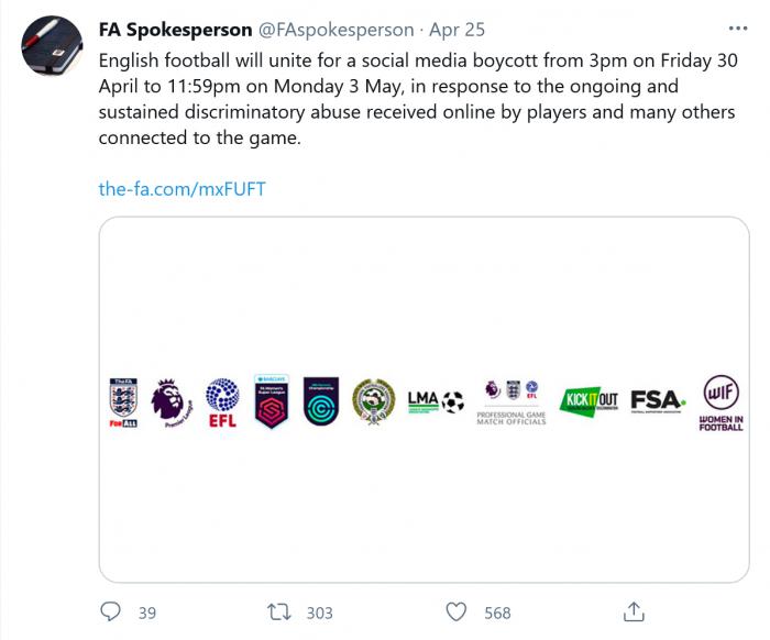 :为抗议网络滥用 英国足球队开始为期四天的社交媒体抵制活动