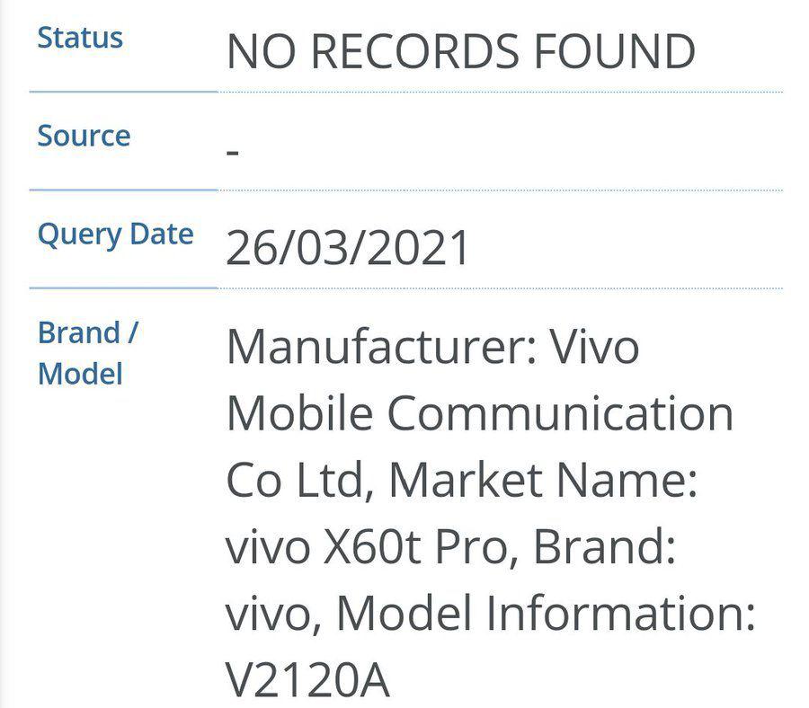 vivo 一款新机入网:有望为 X60t Pro,主打线下渠道