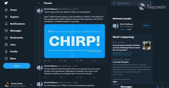 """Twitter开始在为桌面PC端推出其专有的 """"Chirp""""字体"""