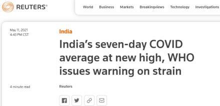 印度七天平均日增确诊创新高,世卫组织发出警告!