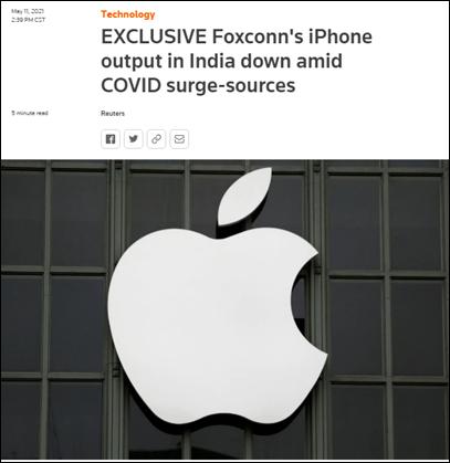 印度工厂现大规模感染,iPhone产量被砍半!富士康母公司连续3天大跌,近600亿市值蒸发