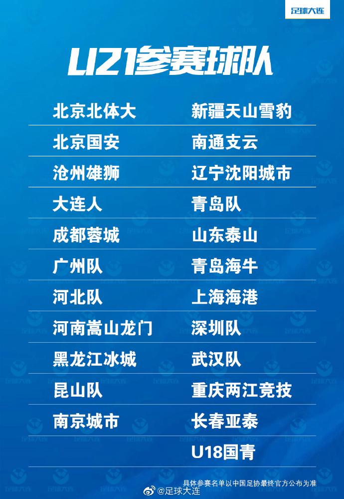 博主:新赛季U21联赛23支参赛队伍基本确定,U18国青队在列