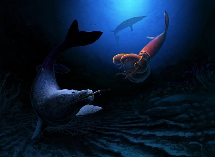 巨大的海蜥蜴曾长到26英尺长 显示小行星撞击前的生命多样性
