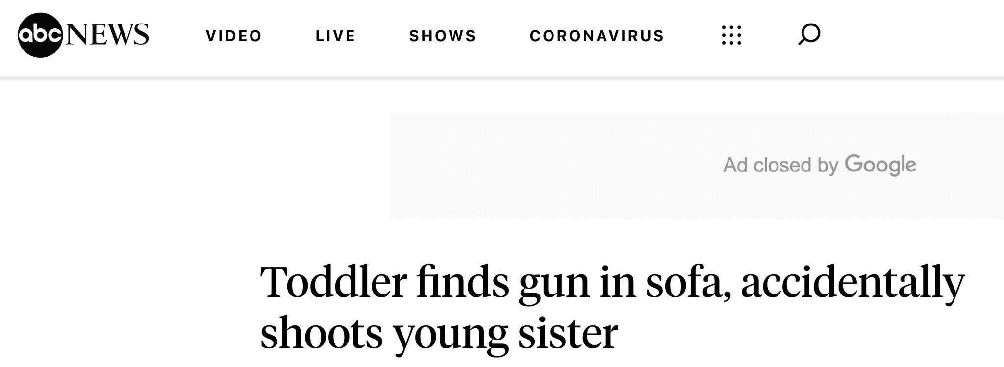 可怕!美国3岁男孩朝2岁妹妹开枪,后者情况危急