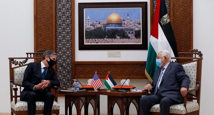 巴勒斯坦总统阿巴斯会见美国国务卿布林肯