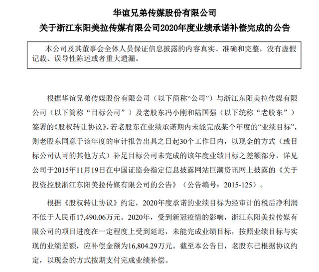 冯小刚已支付华谊兄弟1.68亿业绩补偿 对赌失败反