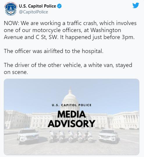 美国会大厦附近一警员被货车撞伤 紧急空运至医院