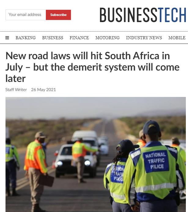 南非7月1日起对道路交通违法行为实行计分处罚制度