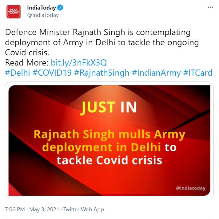 印媒:印度防长正考虑在德里部署军队,应对新冠危