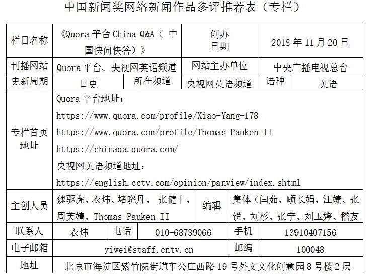 《Quora平台China Q&A( 中国快问快答)》参评推荐表