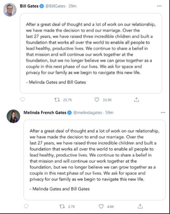 盖茨夫妇没有婚前协议 1305亿美元财产要捐出一半