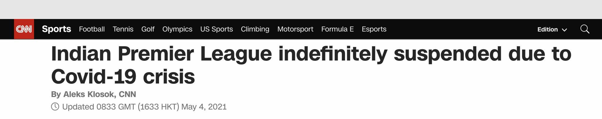 因疫情危机,印度板球超级联赛暂停