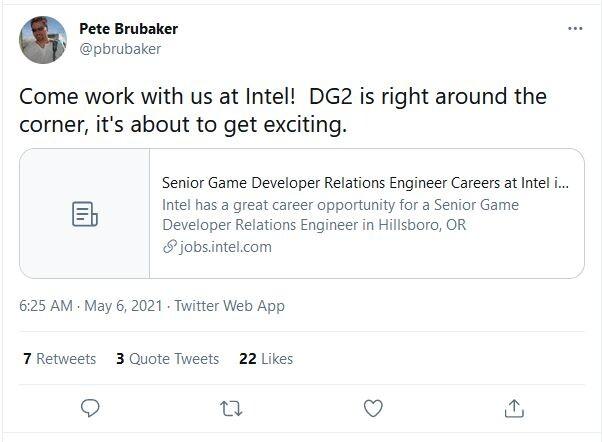 """游戏开发者关系工程师透露:英特尔Xe DG2显卡 """"指日可待"""""""