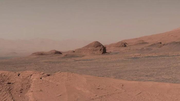 """[图]""""好奇号""""传回在山顶拍摄的火星""""风景照"""""""