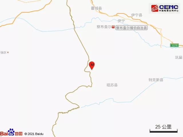 新疆伊犁州察布查尔县发生3.2级地震