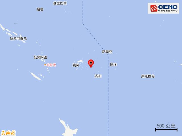 斐济群岛地区发生6.1级地震