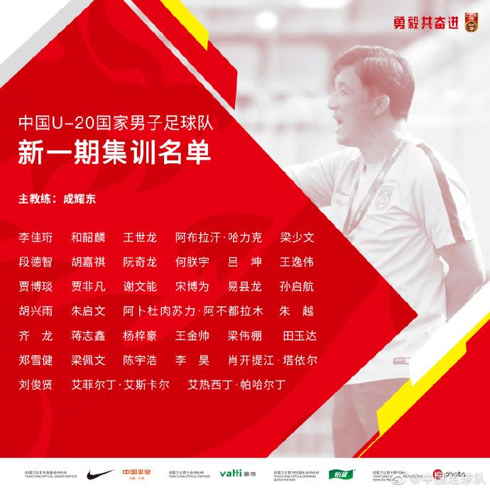 官方:U-20国家男子足球队参加中乙联赛第一阶段大名单公布
