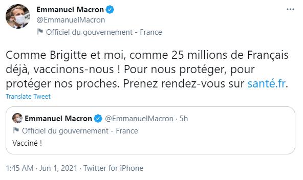 法国总统马克龙已接种新冠疫苗