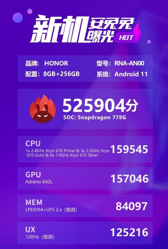 突破52万分!荣耀50系列安兔兔跑分曝光:首发骁龙778G