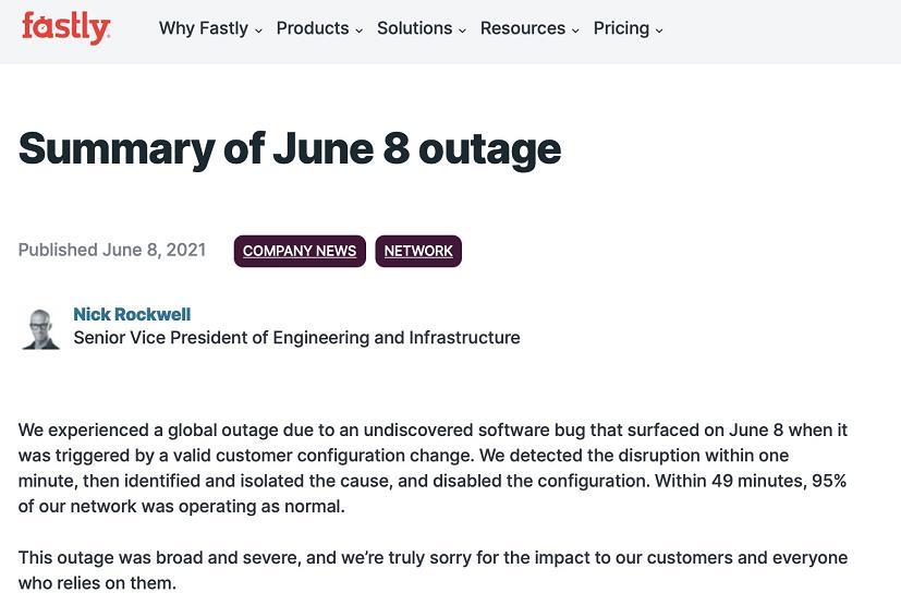 美国网络服务商:8日发生的互联网故障为软件漏洞引发