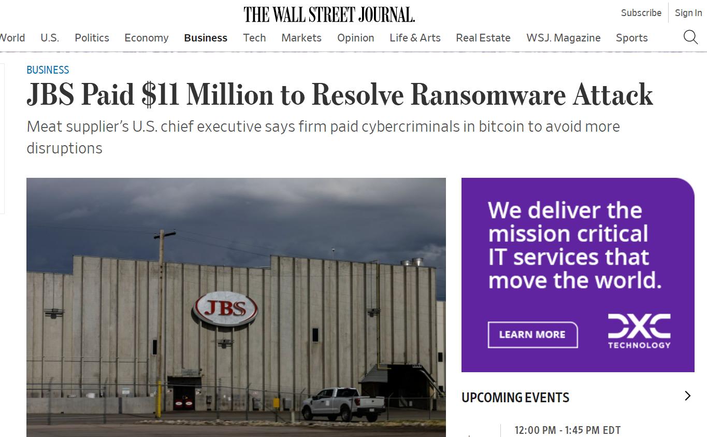 美媒:JBS支付1100万美元比特币赎金,解决网络攻击事件